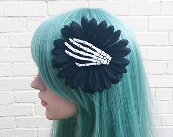 Goth Fascinator, Burlesque Fascinator, Black And White, Skeleton Hand, Hair Flower, Hair Clip, Goth Hair Accessory, Pin Up Clip,