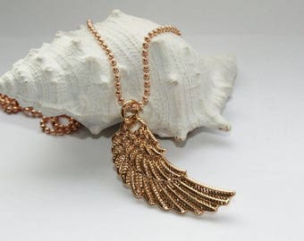 Chain rose gold, gold wing pendant, necklace, rose gold necklace, Rose Gold wings, gold wing, 64 cm long.