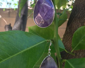 Handmade Amethyst Teardrop and Silver Earrings