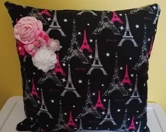 16 x 16 paris pillow-black and silver paris pillow-eiffel tower pillow-paris chair pillow/ room-paris gift-paris wedding gift-paris bridal