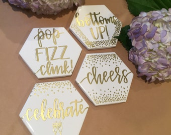Gold Embossed Custom Coasters