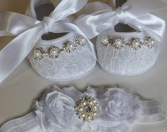 White Baby Christening Shoes and Headband Set, Crib Shoes