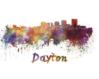 Dayton skyline watercolor canvas, Dayton Ohio Canvas, Dayton wall art, Dayton Canvas Wall Art, Dayton watercolor wall art canvas