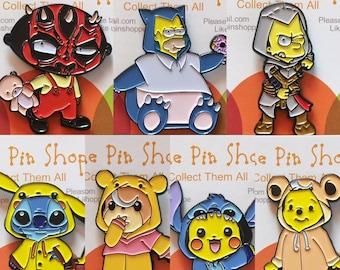 Mashup Enamel Pins combo pack of 7 / Pokemon Enamel Pins, Disney Enamel Pins / Simpsons Enamel Pins / Family Enamel Pins / Star Wars Pin
