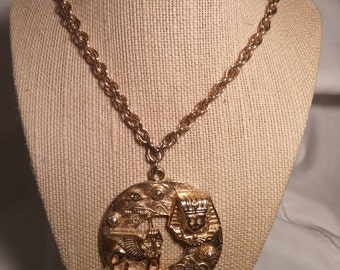 "24"" Goldtone Chain with Sphinx Medallion FREE SHIPPING"