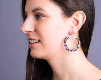Colorful hoop earrings (purple)