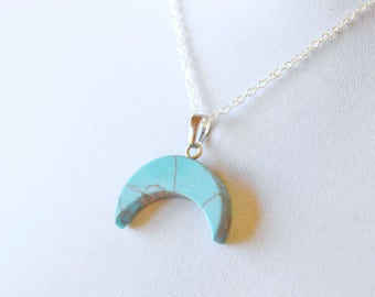 Turquoise Blue Half Moon Necklace, Faux Turquoise Crescent Moon Pendant, Howlite on Sterling Silver, Bohemian Celestial Jewelry