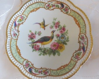 Schumann Arzberg Reticulated Pheasant Plate 22Kt gold trim, Bavaria, Germany, Collectible