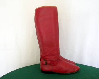Sz 6.5 Tall Dark Red leather 1970s flat women riding boots with strap and buckle.