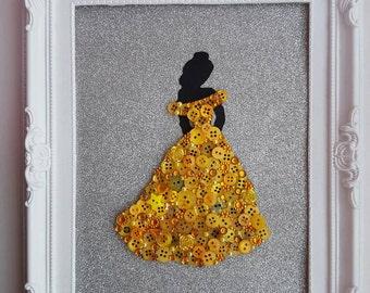 Handmade Disney Inspired Princess Belle Beauty And The Beast Framed Button Art