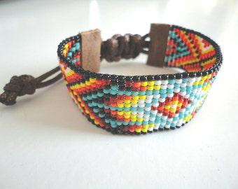 Woven beaded bracelet Native American style.