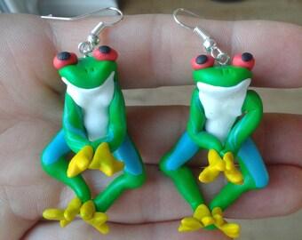 Tree frog earrings ,green  tree frog handmade fimo earrings, polymer clay