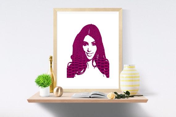 Kim Kardashian, Kanye West, Kardashian, Snake Skin, Purple Print, Purple Prints, White Print, White Prints, Wall Art,Art Print,Printable Art