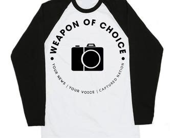 Raglan T-shirts for Photographers - Camera - Weapon of choice