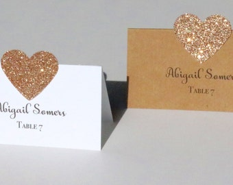 10 Rose gold Place Cards, Rustic Place Cards, rose gold glitter Rustic Place Cards, Gold Glitter Place Cards, Place Cards, Rose gold Wedding