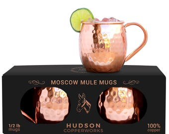 100% Copper Mugs - Moscow Mule Mugs - Not Lined - Set of 2 - Hammered Finish - Handmade - Large Handle - 1/2 Pound Each - Pure Solid Copper
