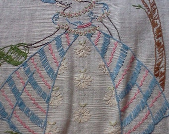 Vintage dresser cloth, vanity cloth or table runner.  Hand embroidered.