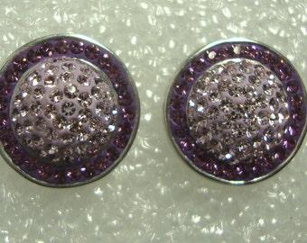 Vintage Designer Signed AU Sterling Silver 925 ARTISTIQUE Swarovski Dome Earrings ID AU20161