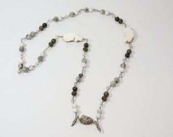 "Mixed Stone Long Necklace- 13"" Metal Linked"