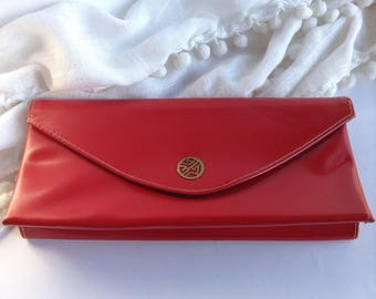 Vintage Red Envelope Style Evening Bag / Clutch