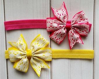 Lace Print Bow Headbands/Baby Girl Headbands/Infant Headbands/Toddler Headbands/Summer Headbands/Spring Headbands/Bow Headbands
