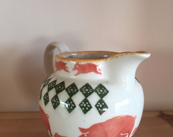 Small Vintage Moorside Pottery Chelsea Works Jug Vase with Sponge ware and Pig Design