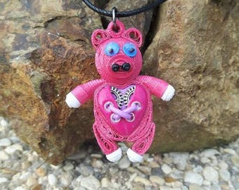 Pig necklace in fimo steampunk quilling
