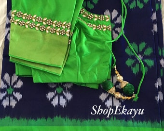 INDIA/PAKISTANI/BOLLYWOOD Party wear pure Ikkat silk Saree With stone work blouse