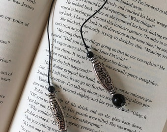 String Beaded Bookmarker/Black and silver beads.  Handmade.  Nice for male or females book