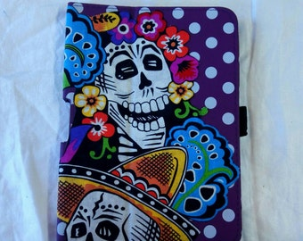 SUMMER SALE! Purple spotty Day of the Dead Skull small tablet / reader case