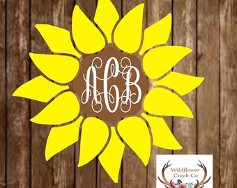 Sunflower Monogram Vinyl Decal - Sunflower Decal - Monogram Decal - Monogram Sticker - Sunflower Sticker - Flower Decal - Sunflower
