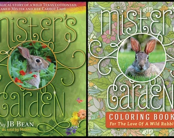 TWO-FER SPECIAL! - Mister's Garden Book & Coloring Book - Bunny - Rabbit - Free Us Shipping - Bunny Lover Gift - JellyBean Publishing