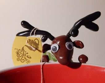 Reindeer tea holder (~7cm tall) Made To Order