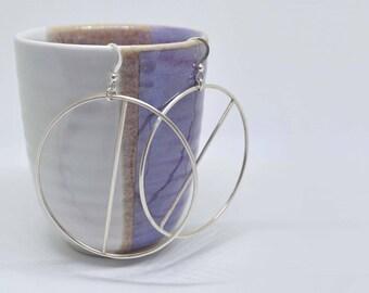 Sterling Silver Hoop Earrings | Large Geometric Hoop Earrings | Silver Hoops