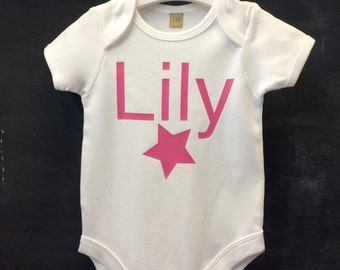 Name and star print baby bodysuit short sleeve 100% cotton