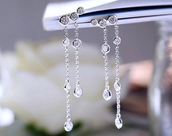 Silver long tasel drop earrings with cubic zirconia