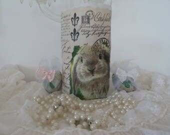 Lantern light bag beige White Rabbit Easter vintage style linen rabbit Eastern Green