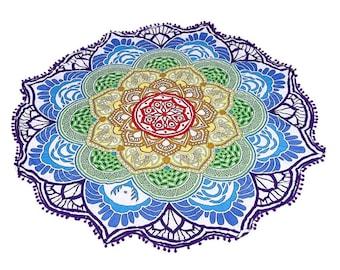 Lotus Roundie, Mandala throw, mandala, Mediation throw, meditation mat, mediation rug, beach cover,  lotus cover, yoga rug, Tapestry, boho