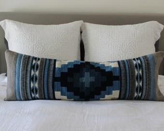 Maricela No.3: Long Pillow featuring Oaxacan Indigo, Grey & Off-White Wool Weaving