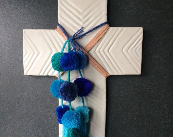 Decorative Ceramic Cross #12 / Carved Arrow Design / Multi-Colour Fair-trade Tassels & Pom-Pom Trim