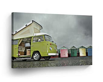Classic Volkswagen Van Green Camper Cloudy Canvas Print Home Decor / Old Bus / Wall Art Gallery Wrapped /Ready to Hang