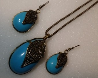 Blue Leaf - Necklace - Ear Rings