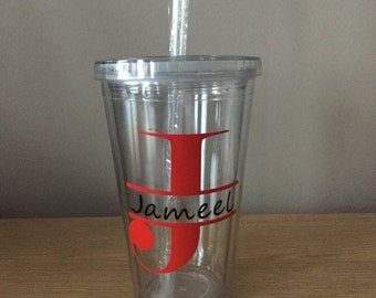 Personlised Initial Cup~ Reusable Tumbler~Gift~Birthday~Custom Made~Any Occasion