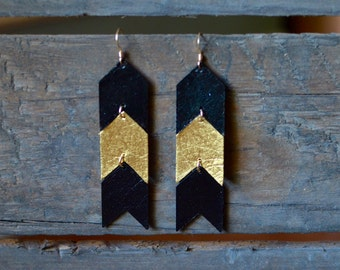 Black & Gold Chevron Drop Earrings