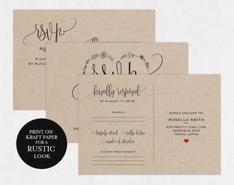 RSVP postcards templates, Wedding rsvp cards, rsvp online, wedding rsvp postcards, kraft rsvp card,RSVP Template, RSVP Postcard, WPC_628SD2A