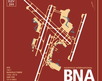 BNA Nashville International Airport Tennessee Travel Infographic Art Print on Paper Variety of Colors and Styles for Home of Office Decor