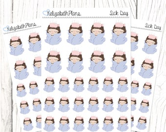 Sick Day (Lizzie Collection)   Health, Unwell, Sick, Poorly, Doctors, Planner Stickers