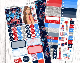4th of July | Independence Day, USA, Planner Stickers, PERSONAL SIZED kit