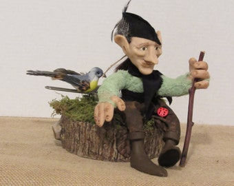 "OOAK Art Doll, Polymer Clay Doll, ""Wallace"" The Woodsman, Handmade Doll, by Susan Massey"
