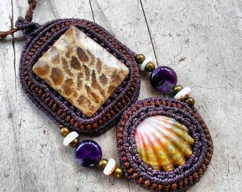 Macrame Necklace with Sunrise Shell, Petrified Coral, Brass Beads, Puka Shells and Amethyst/ Mermaid Jewelry